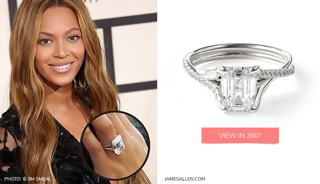 Check out Beyoncé's 14K White Gold Twisted Pave Shank Contemporary Diamond Engagement Ring