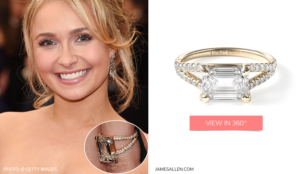 Check out Hayden Panettiere's split shank engagement ring
