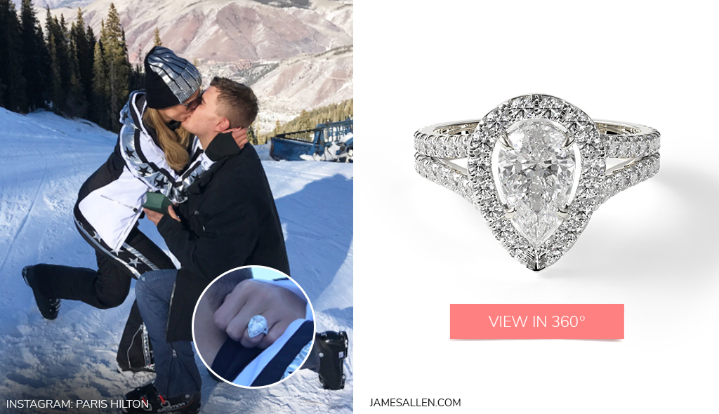 Check out Paris Hilton's 14K White Gold Round Split Band Diamond Halo Engagement Ring