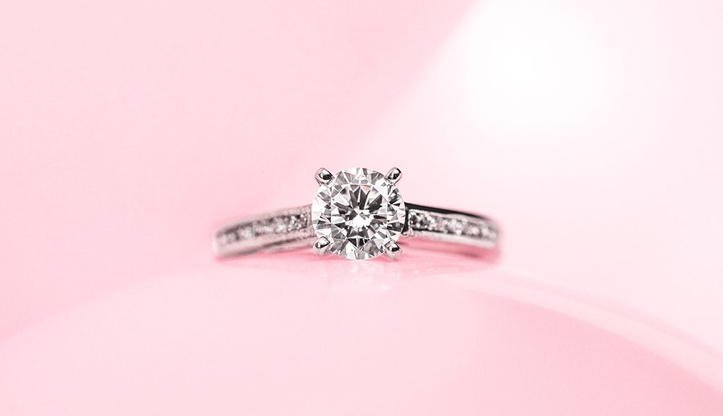 thin channel set engagement ring