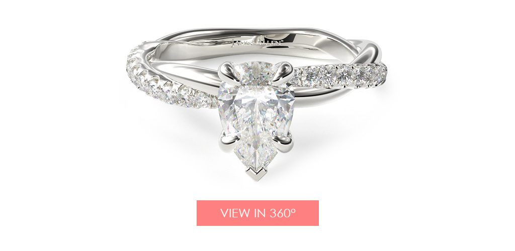 twisted pave pear paris hilton engagement ring