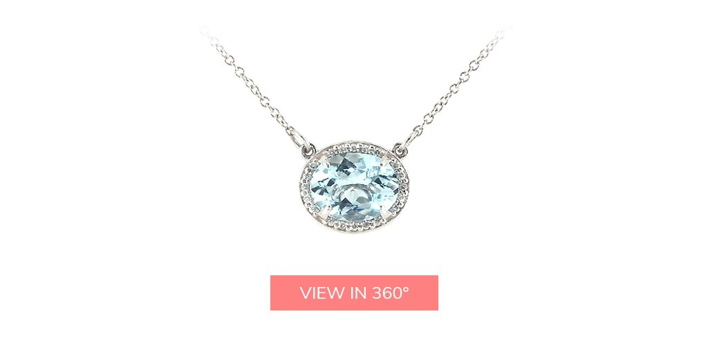 aquamarine diamond oval halo east west necklace march birthstone