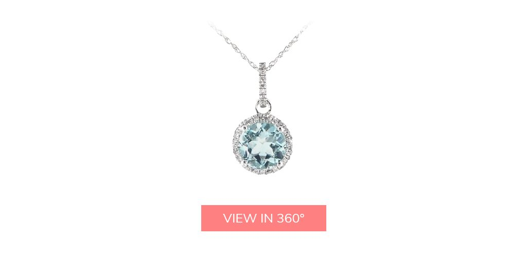 aquamarine diamond halo necklace march birthstone