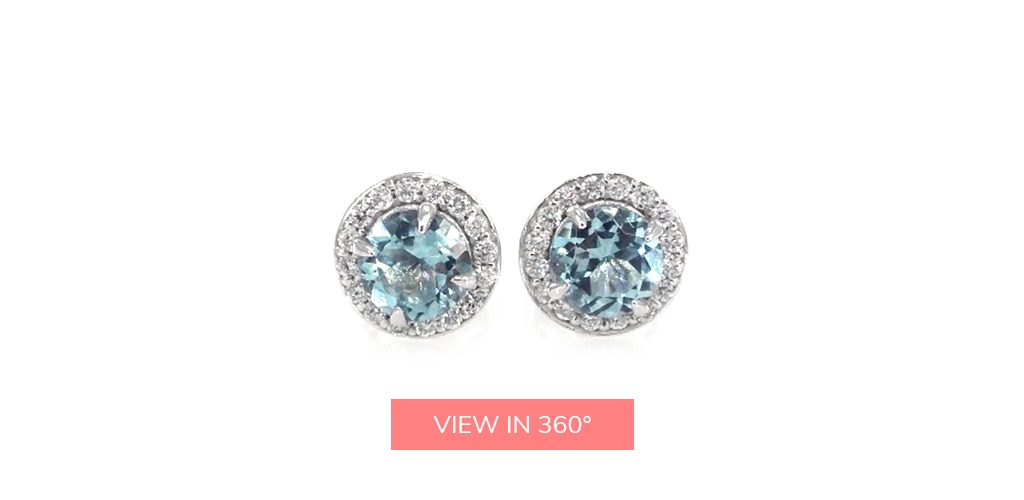 aquamarine diamond halo stud earrings march birthstone