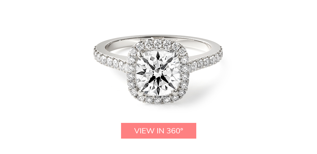 hearts and arrows diamond cushion outline pavé engagement ring