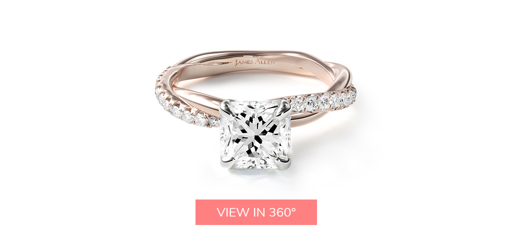 hearts and arrows diamond pavé rope engagement ring