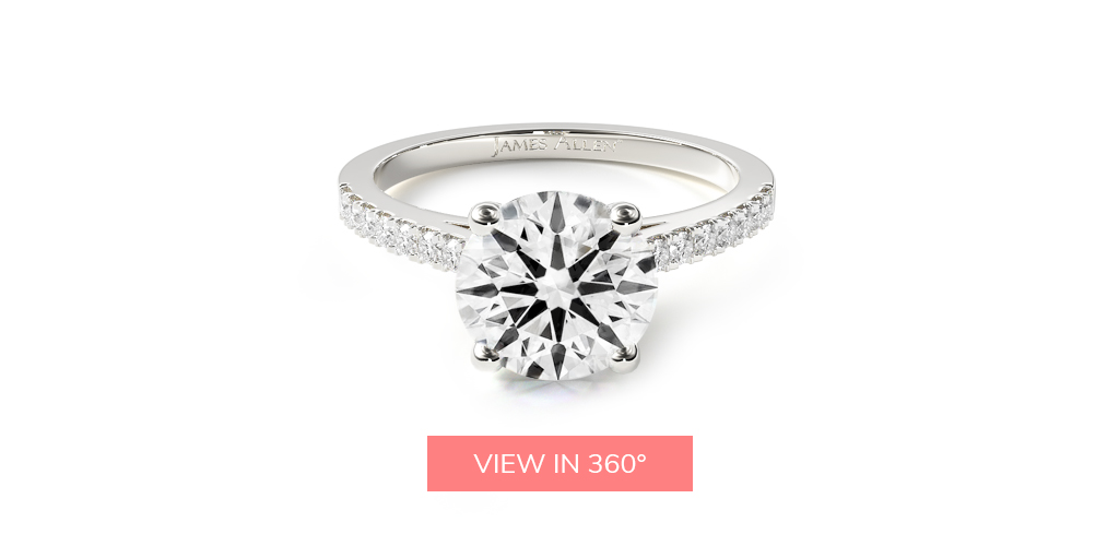 hearts and arrows diamond petite pavé cathedral engagement ring