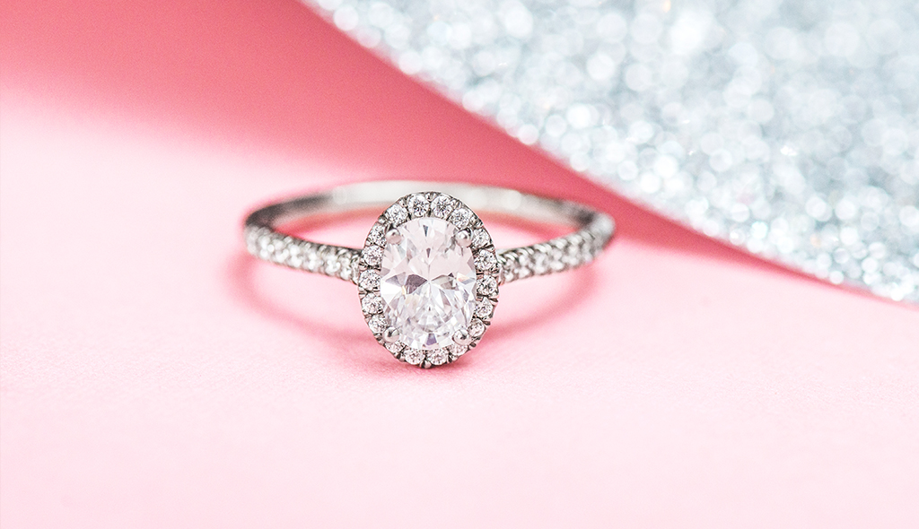 oval pave halo white gold engagement ring