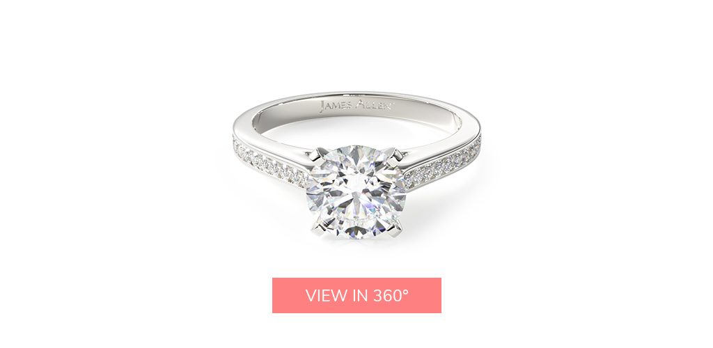 thin channel set white gold engagement ring