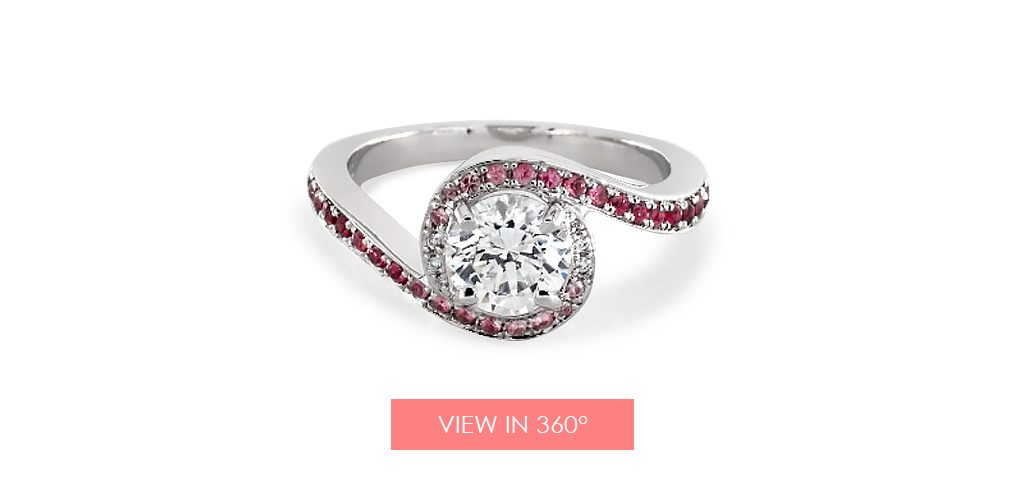 Ruby and diamond swirl engagement ring