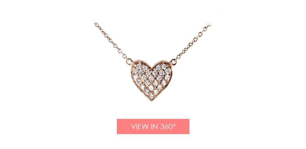 Diamond heart necklace in yellow gold