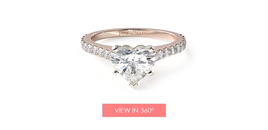 Heart-shaped diamond engagement ring in rose gold