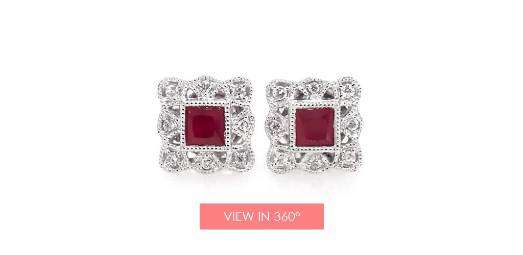 Princess cut ruby and diamond earrings