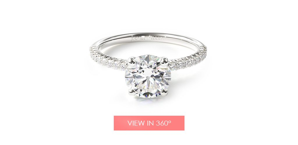 white gold petite pave diamond engagement ring