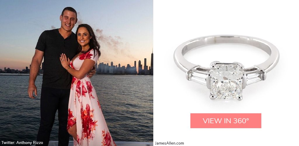 Anthony Rizzo Emily Vakos baguette diamond engagement ring