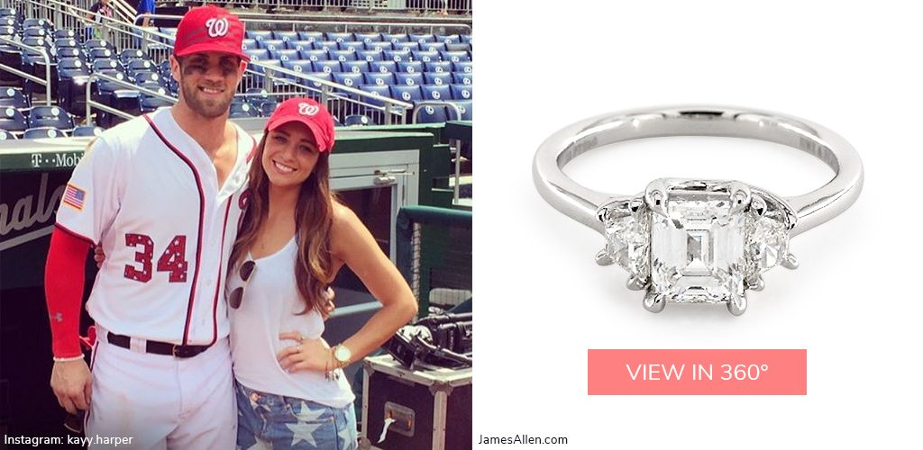 Bryce Harper Kayla Varner emerald diamond engagement ring