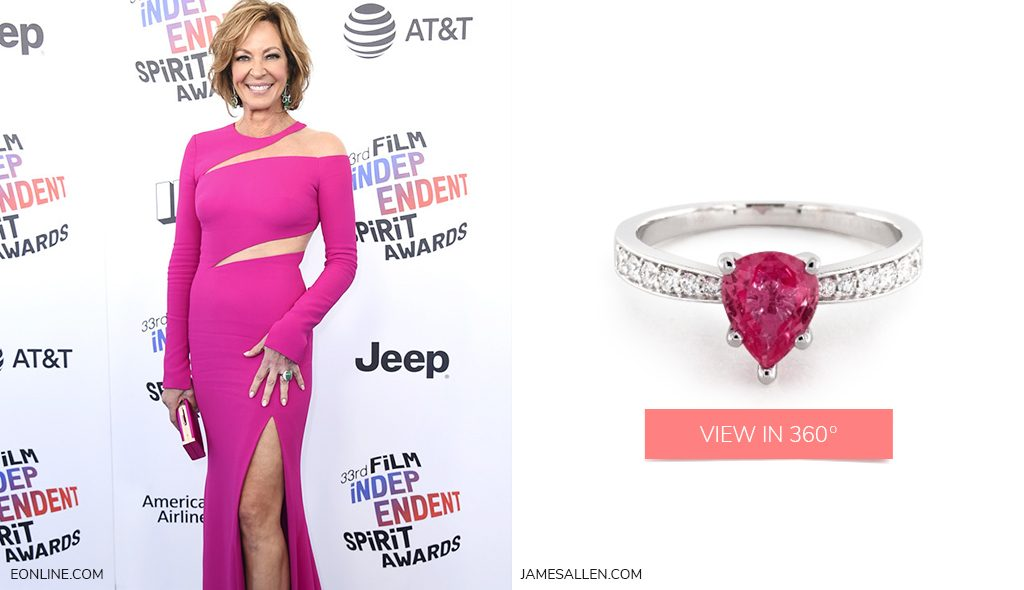 pink pear shaped engagement ring to match Allison Janney's red carpet look