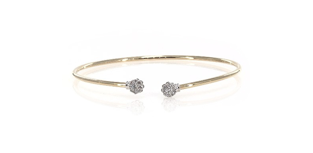 april birthstone flexible floral motif diamond bracelet