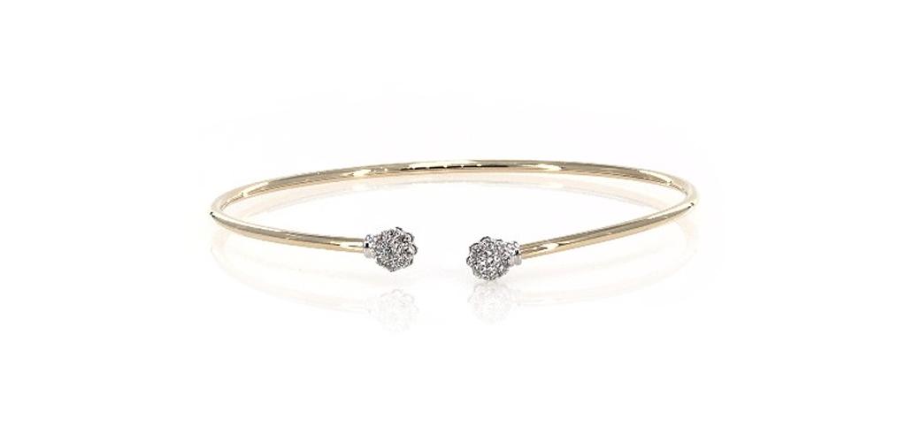 april birthstone flexible floral motif diamond bracelet