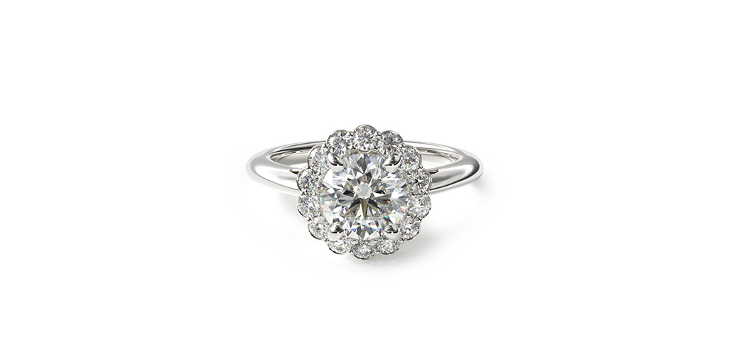 14K White Gold Floral Halo Engagement Ring