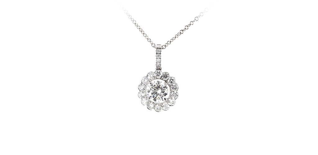 april birthstone grande floral halo diamond necklace