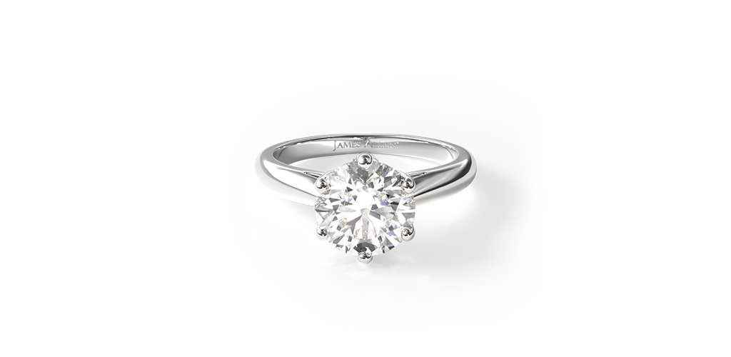 14K White Gold Modern Tulip Diamond Engagement Ring