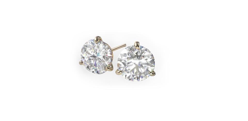 14K Yellow Gold Three Prong Martini Round Brilliant Diamond Stud Earrings