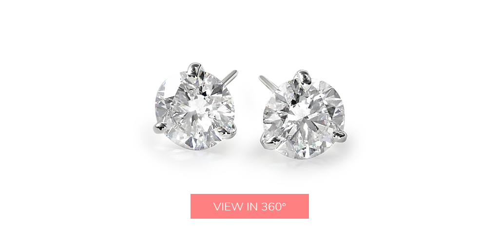 april birthstone three prong martini round brilliant diamond earrings