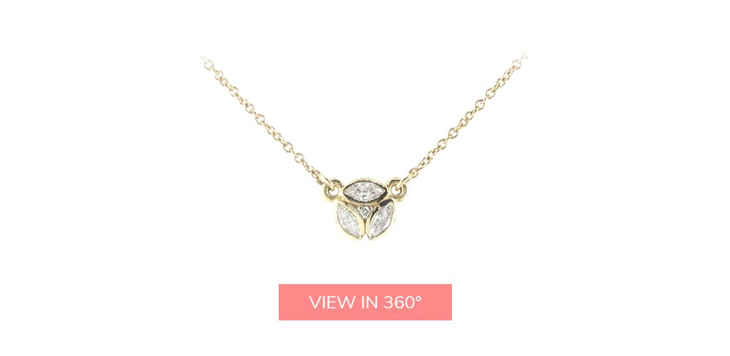 art deco gold diamond cluster necklace