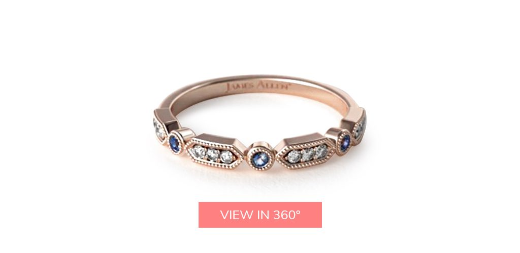 art deco sapphire rose gold wedding bands rings