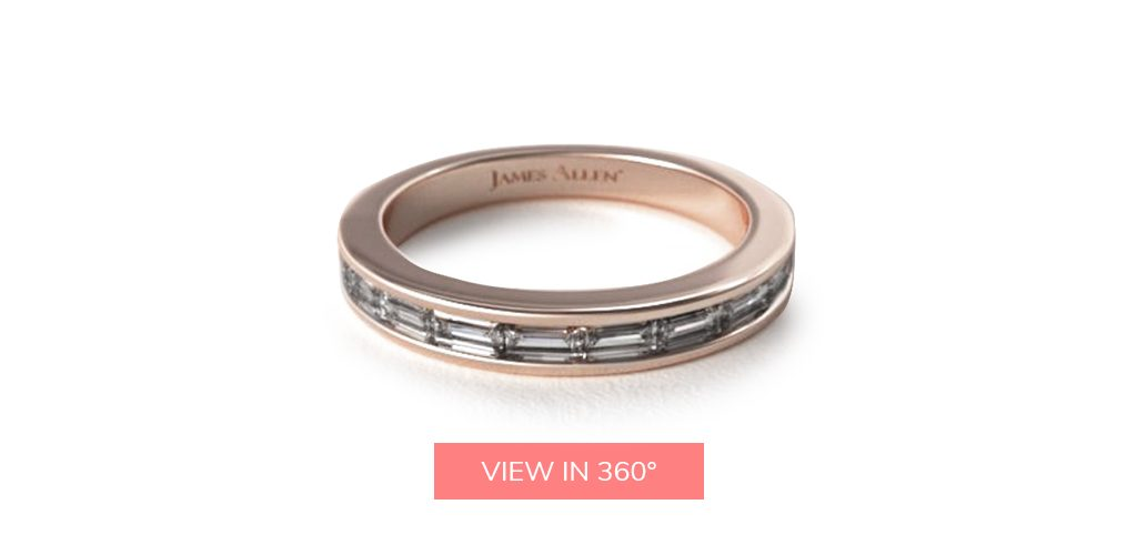 baguette eternity rose gold wedding bands rings