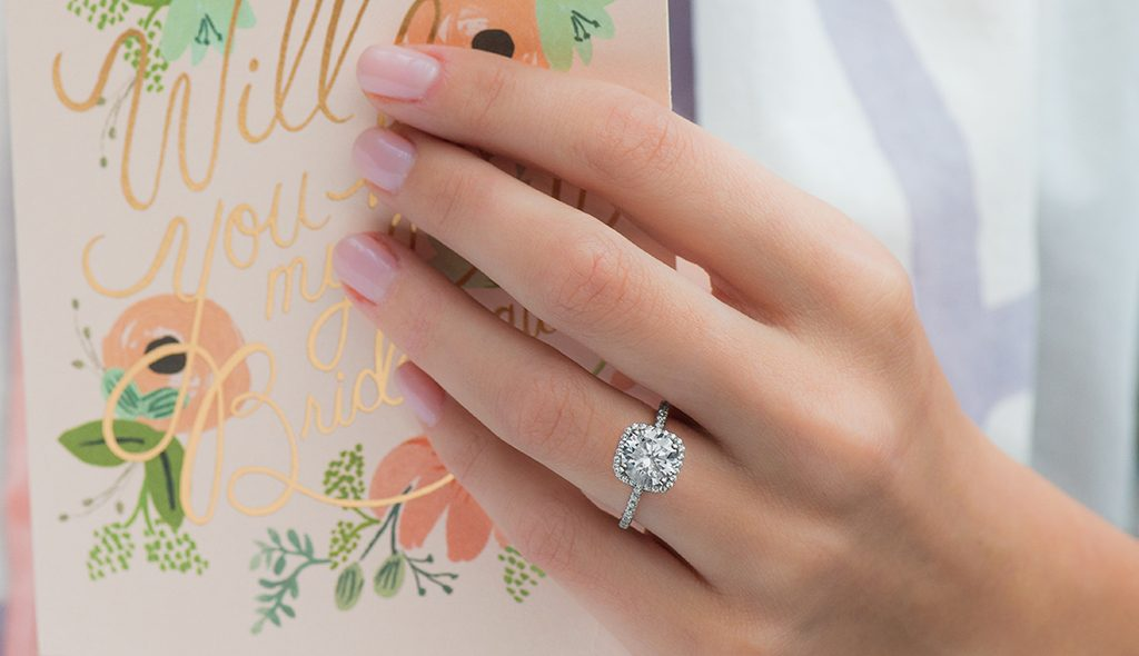 cushion halo platinum engagement ring