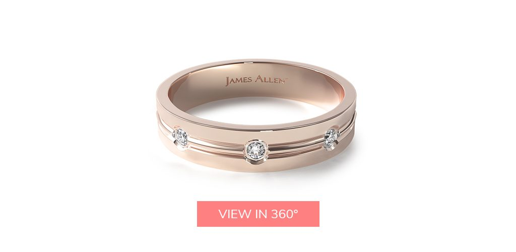 diamonds mens rose gold wedding bands rings