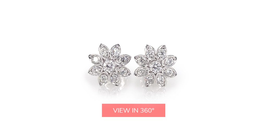 divine lotus diamond cluster earrings