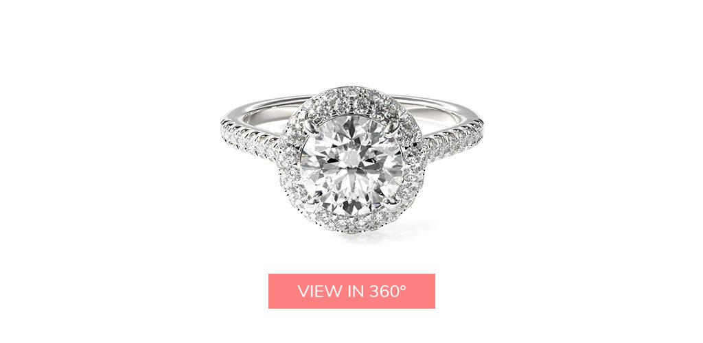 falling edge halo platinum engagement ring