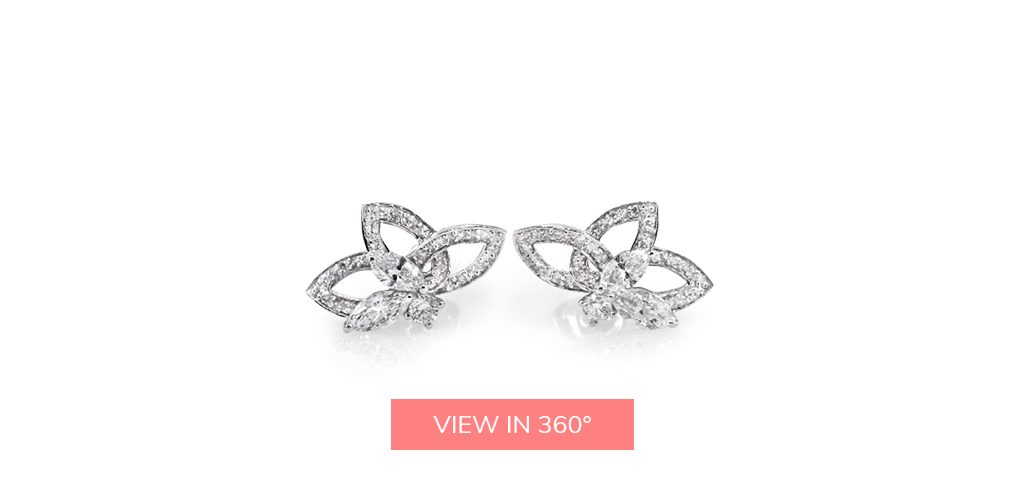 lotus flower cluster diamond earrings