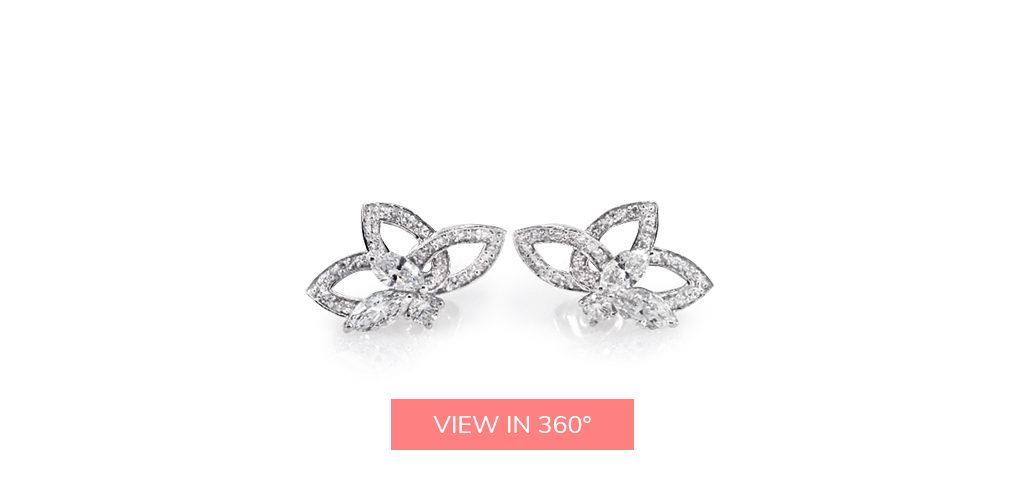 lotus flower cluster diamond earrings