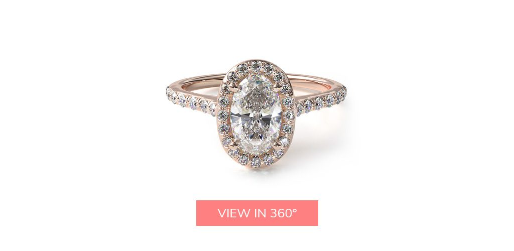 14K Rose Gold Pavé Halo Diamond Engagement Ring (Oval Center)
