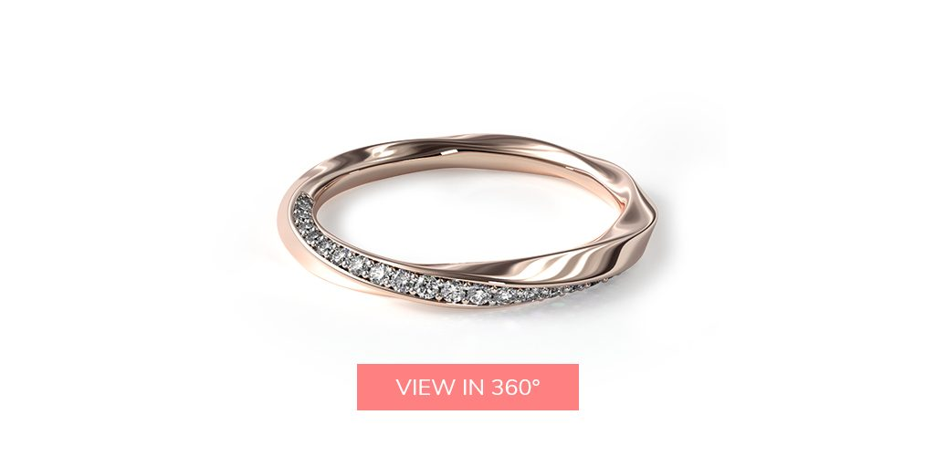 pave twist rose gold wedding bands rings