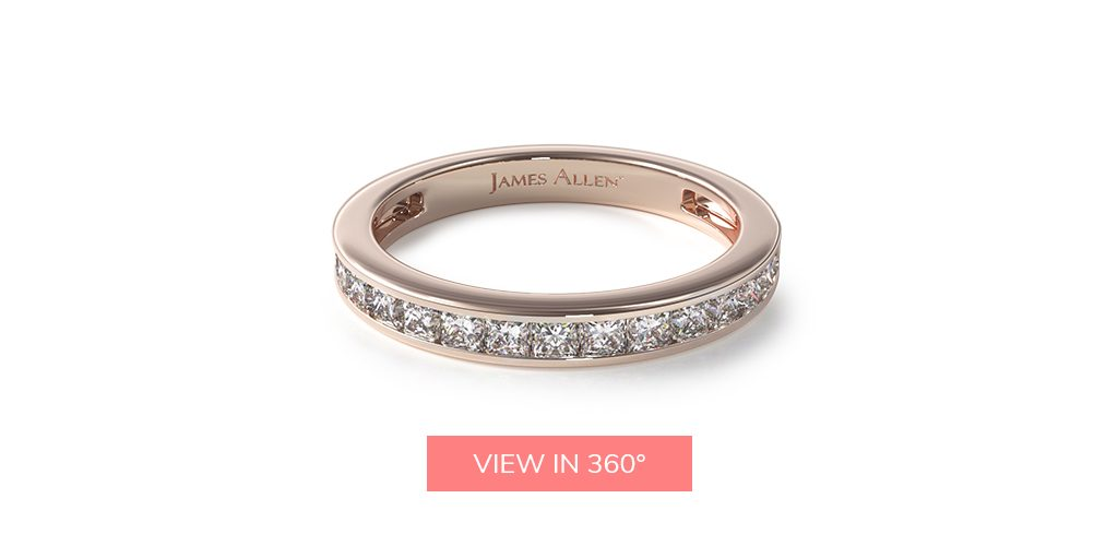 princess channel rose gold wedding bands rings
