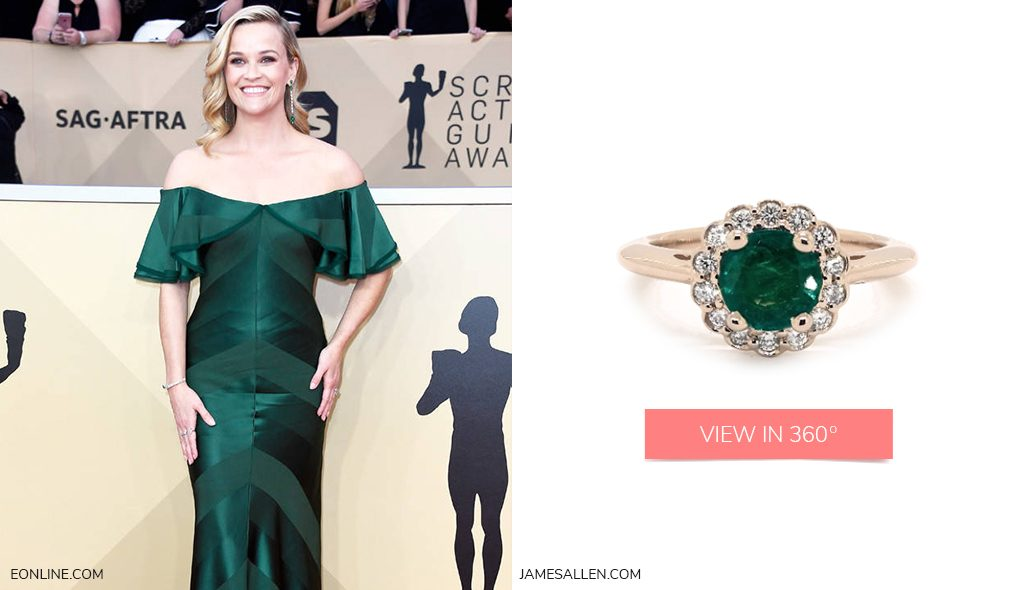 Red carpet jewelry to match Reese Witherspoon's emerald SAG Awards dress