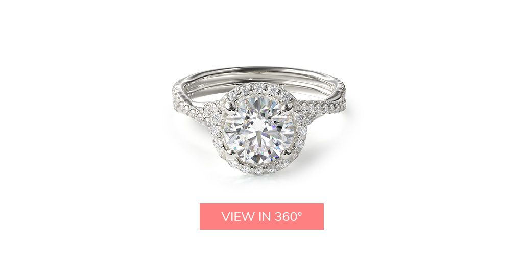 round cut diamond twisted pave halo engagement ring