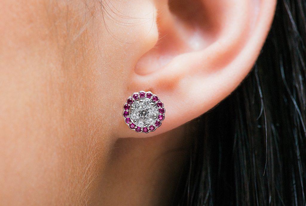 ruby diamond cluster earrings