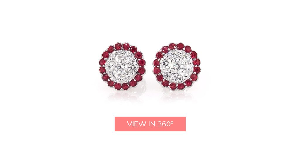 ruby halo diamond cluster earrings