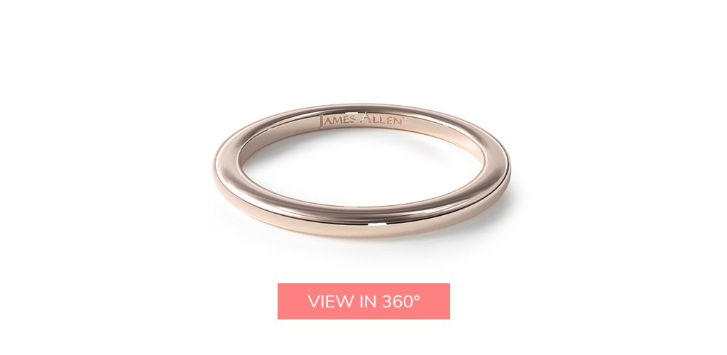 simple comfort fit rose gold wedding bands rings
