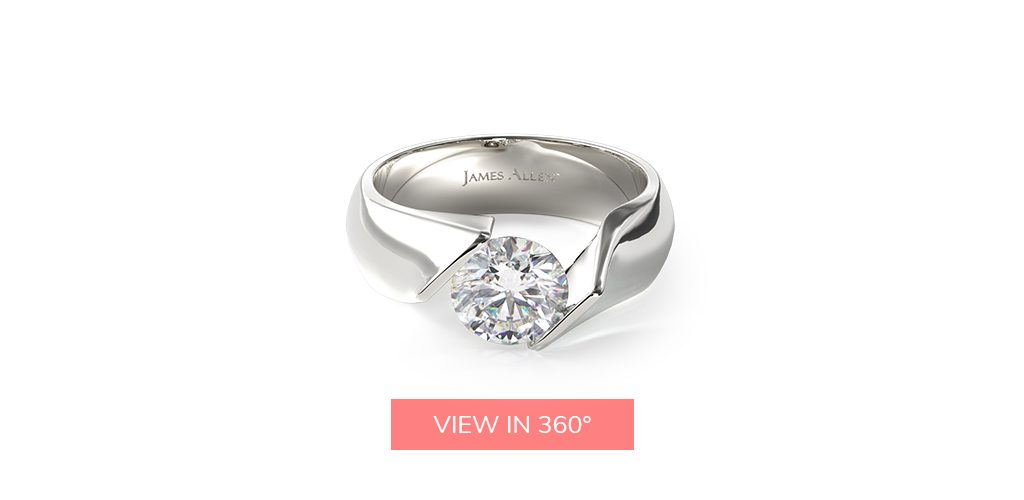tension modern platinum engagement ring