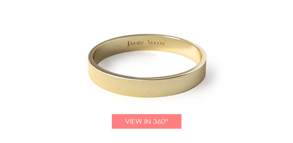 yellow gold wedding bands flat comfort fit ring