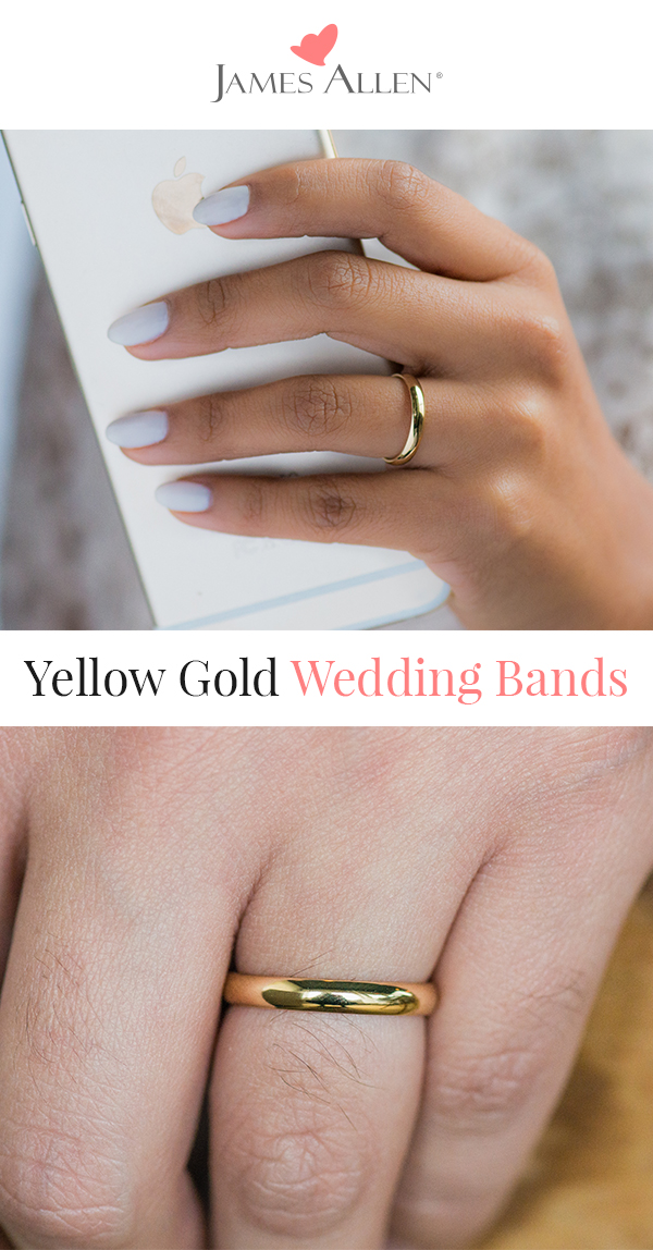 yellow gold wedding bands traditional slightly curved ring cover