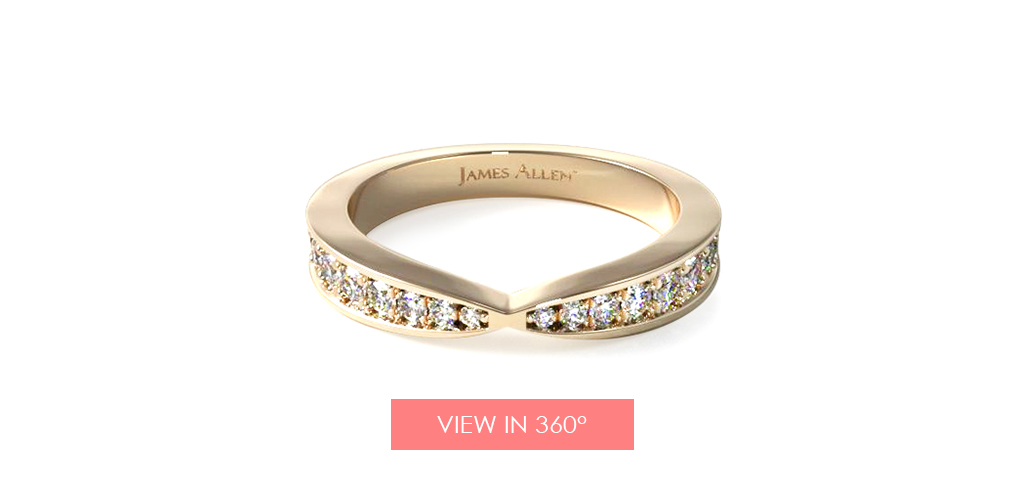 yellow gold wedding bands tapered pavé band