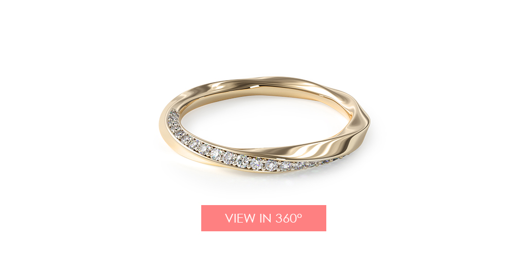 yellow gold wedding bands twisted pavé ring